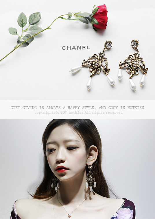 핫키스antique pearl earring