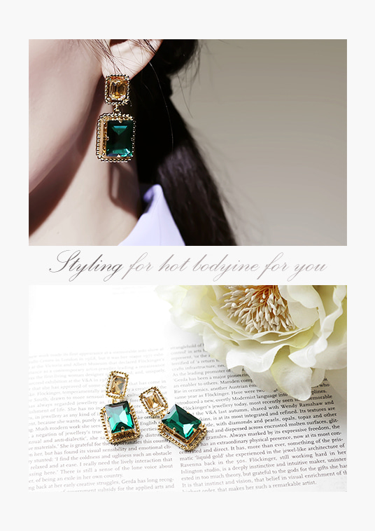 핫키스green square earring