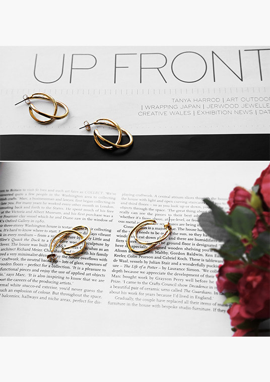 핫키스gold twist ring earring